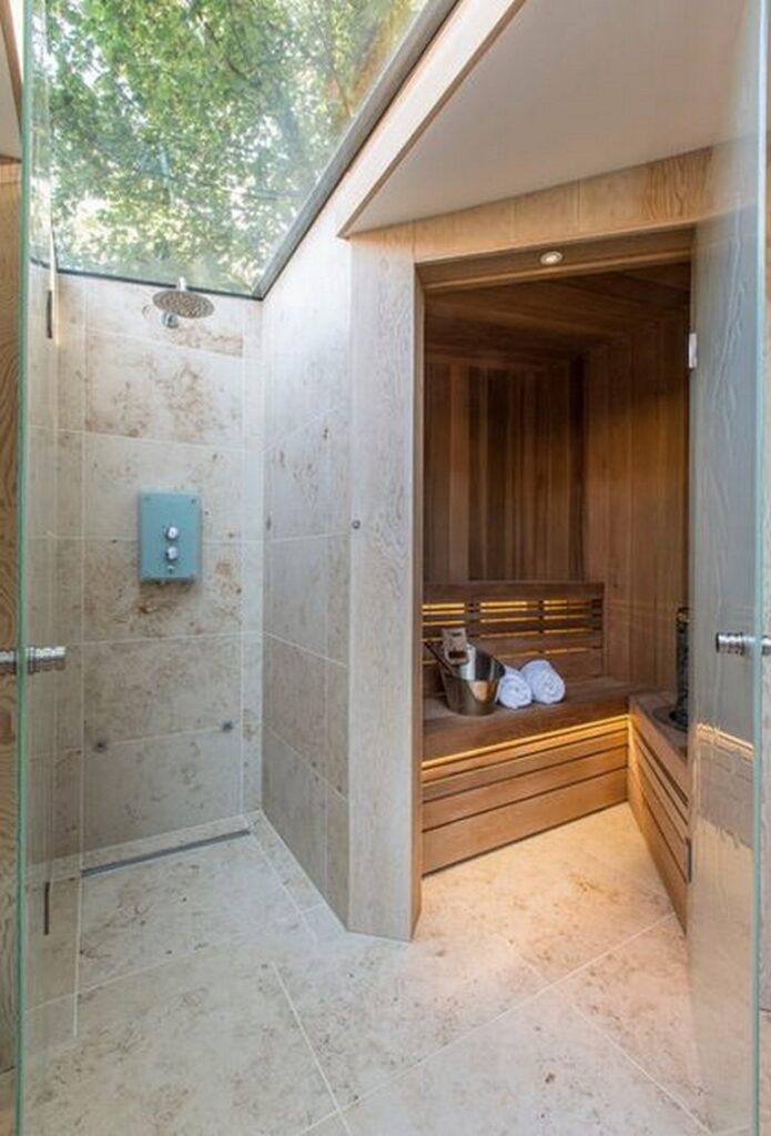 baño con sauna minimalista