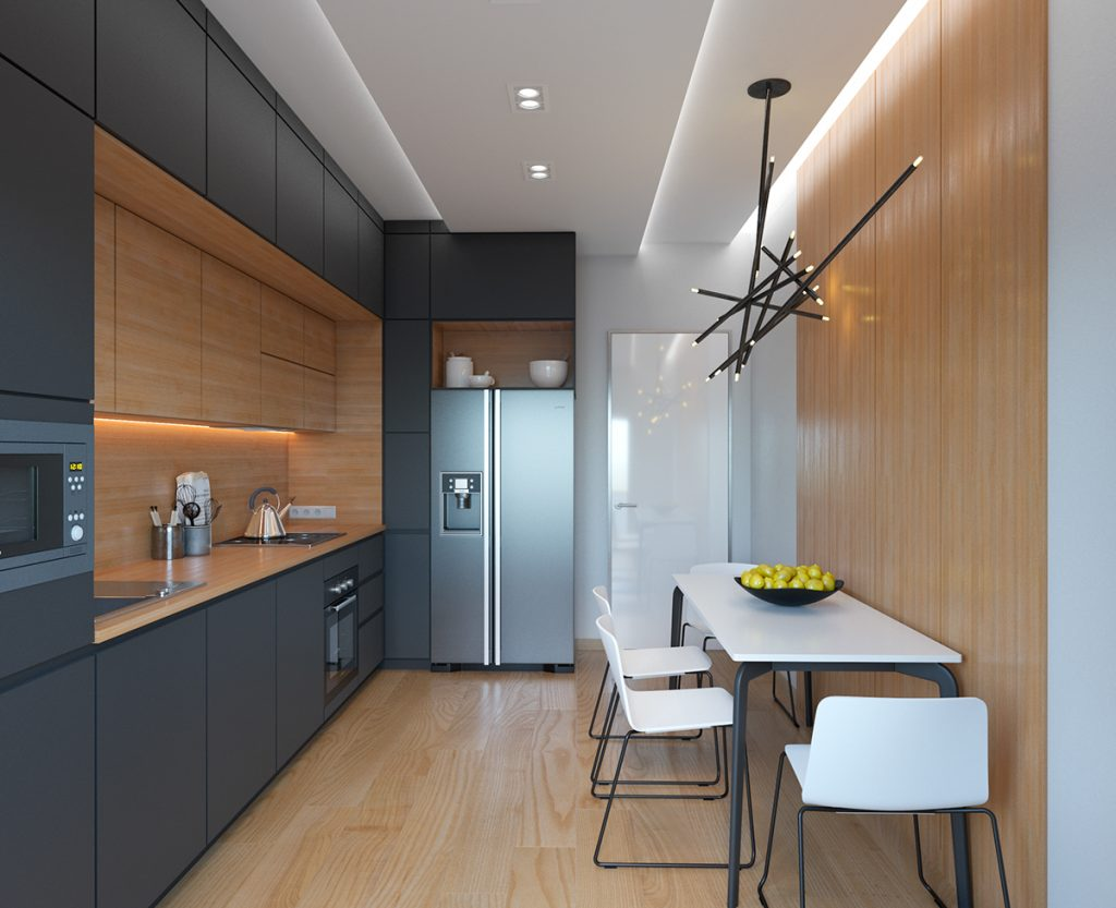 cocina minimalista mixta