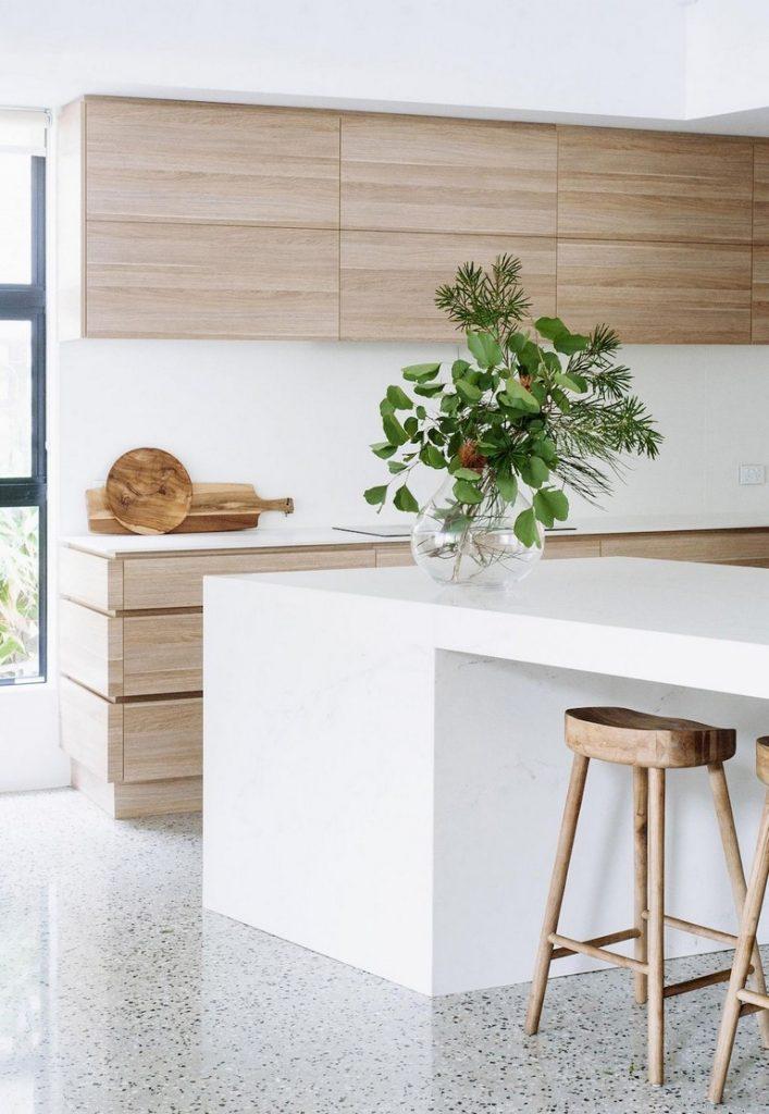 cocina minimalista madera
