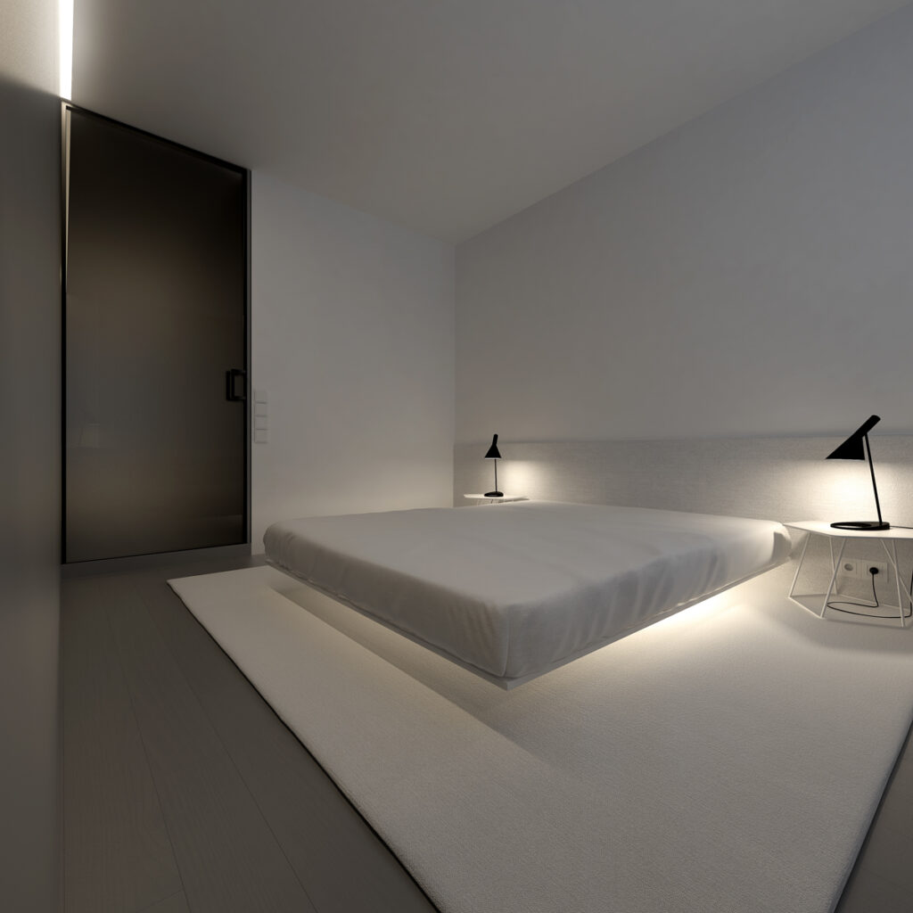 dormitorio con cama grande estilo minimalista moderno