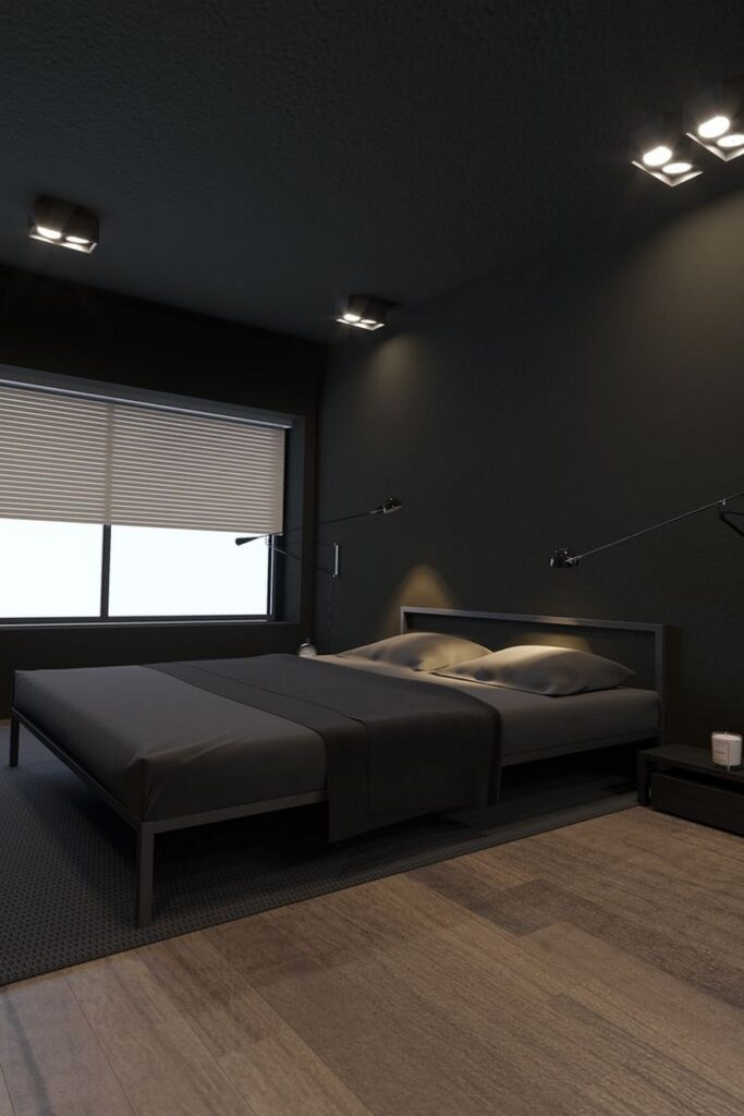 dormitorio minimalista en negro