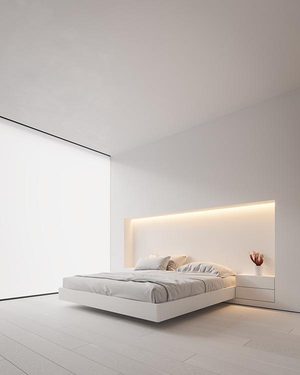 dormitorio minimalista con ventanal