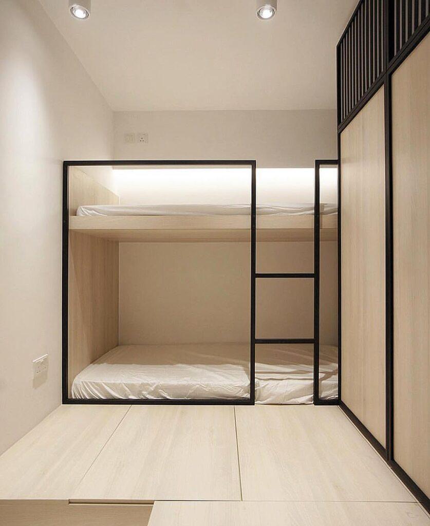 literas en habitación minimalista juvenil