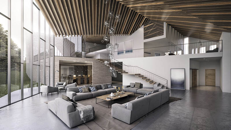 salón abierto minimalista moderno con toques en madera.