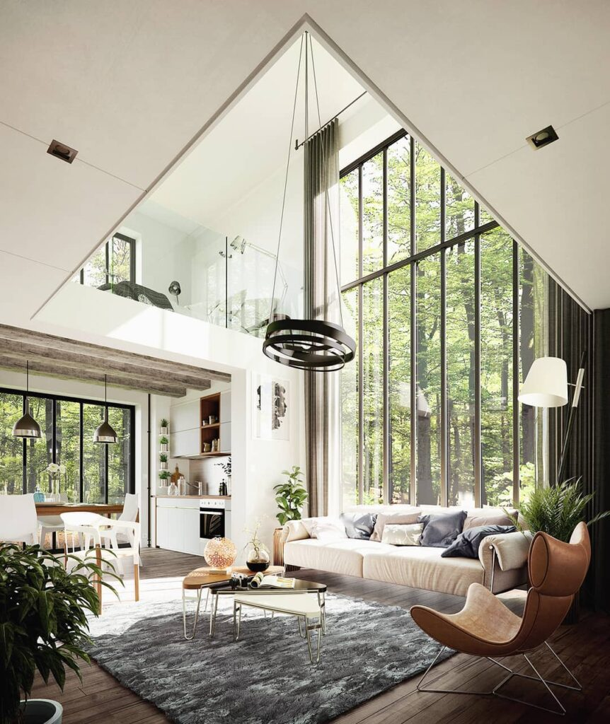 salon minimalista doble altura con ventanal