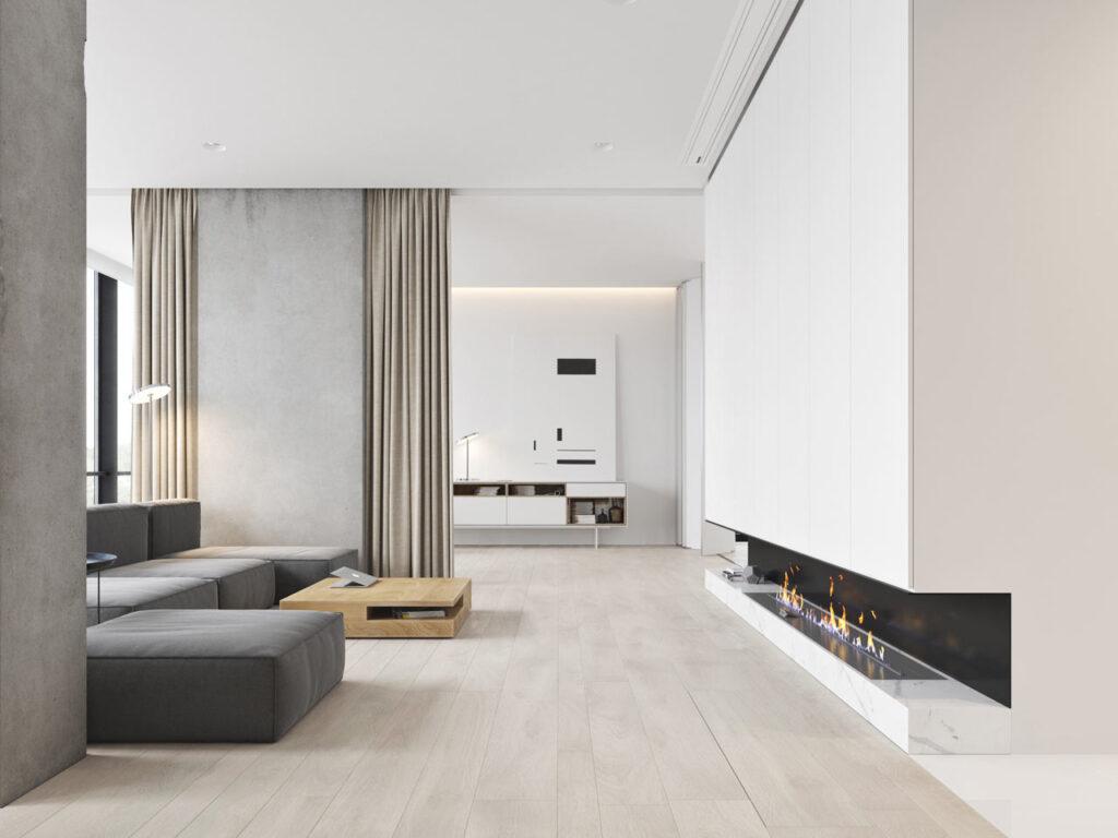 salon minimalista con chimenea alargada en casa minimalista una planta